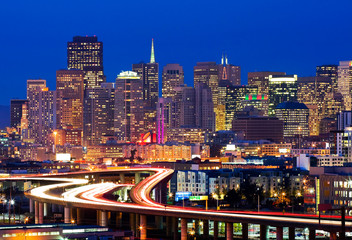Deurstickers San Francisco San Francisco at night