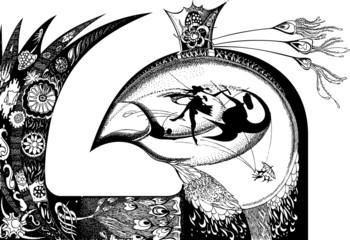 King birds. Vector art-illustration.