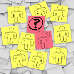 One Person Raises Hand for Question - Sticky Notes