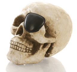 pirate skeleton - human skull with eye patch