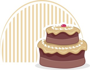Illustration of cake in colour shading