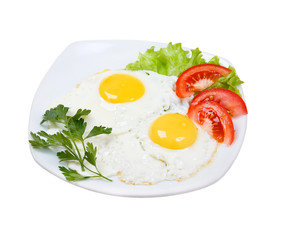 Delicious egg with vegetable close up