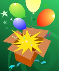 Illustration of a giftbox with stars and balloons