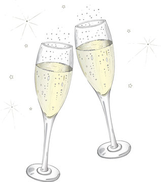 Silvester, Sylvester, Neujahr, Sektgläser, Sekt, Geburtstag