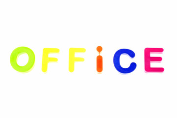 Word Office From Plastic Toys Letters