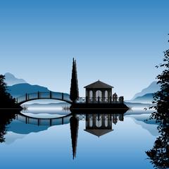 Romantische Insel mit Brücke