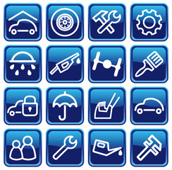 Cars spare parts and service buttons