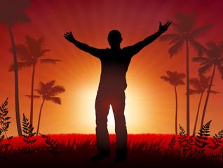 free man on sunset background