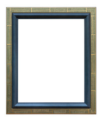 Wooden photo frame golden and blue