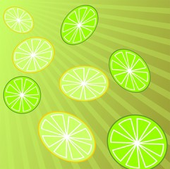 Illustration of lemon in colour background