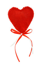Valentines heart with red and white ribbons, isolated