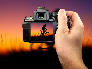 Dslr photographing of man silhouette, blur background