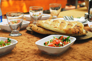Healthy turkish lunch with salad and bread