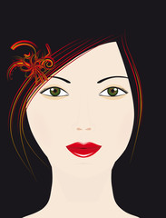 he girl's face on a black background
