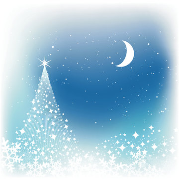 Christmas star tree on blue background.