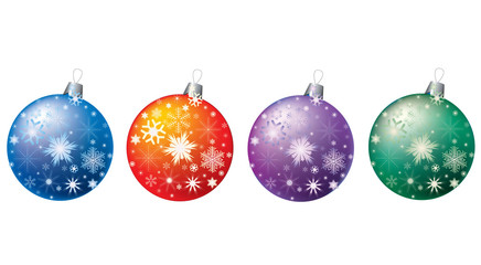 Colored balls with snowflakes.