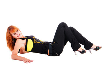 Beautiful  attractive smiling girl lying on floor