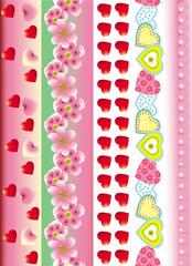 beautiful holiday border heart and flower