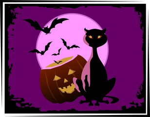 Illustration of Halloween and a cat