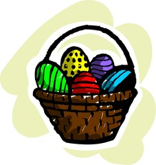 Illustration of colour eggs in basket