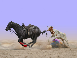 Fototapete - Steer Wrestling Gone Wrong with path