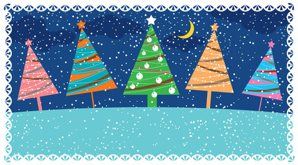 Retro Christmas card, vector illustration