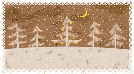Grunge retro New Year card, vector illustration