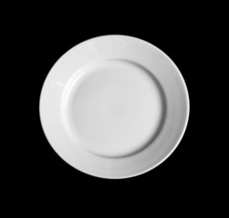 White round plate isolated on black background
