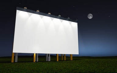 white advertising wall by night