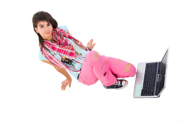Modern Girl With Laptop. Studio Shoot Over White Background.