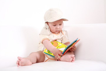 Cute baby reading
