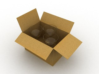 3d cardboard box with cups