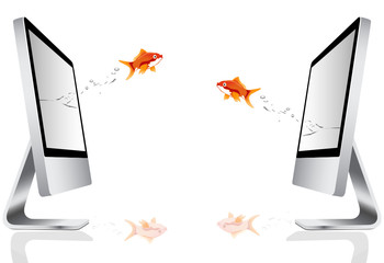 goldfish jumping out of a computer