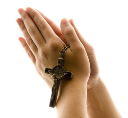 Hands in Prayer with Crucifix