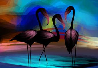 Digital painting of crane