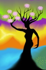 Digital painting of tree  in colour background