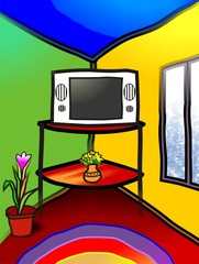 Digital   painting  of  tv and flower vase