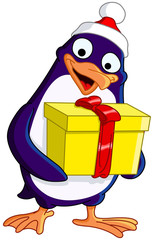 Cute Christmas penguin holding a gift