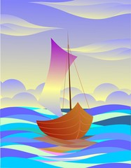 Digital   painting  of  sea with yacht