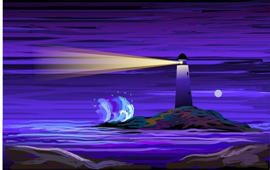 Digital   painting  of  light house