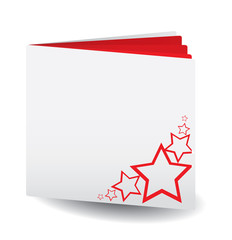 Red papered book  with stars on top