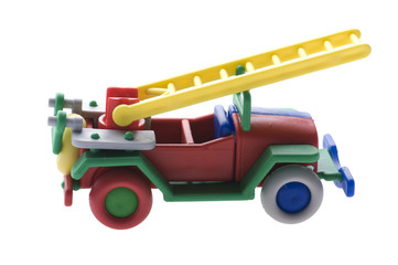 Toy Fire engine on white