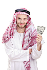Young Arab businessman holding US dollars isolated on white