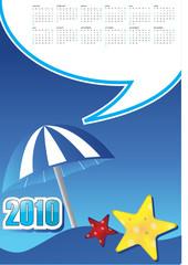 starfish, umbrellas, blue sky and holidays