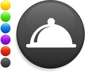 dinner platter icon on round internet button