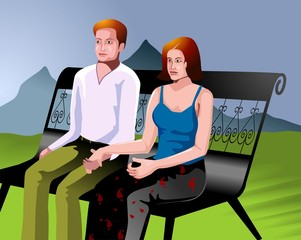 couples sitting in a chair on hill background