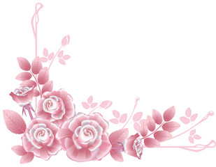 Corner design element with pink silky roses.