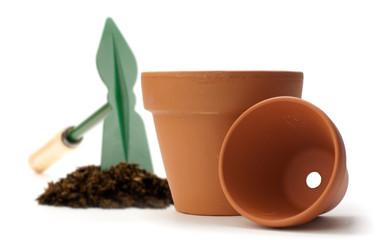 images d'un pot de fleurs en terre cuite - jardinage