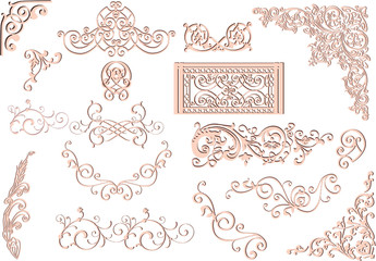 pink ornament elements collection