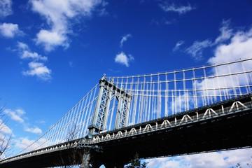 Blue sky over Manhattan bridge